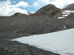 The toe of the Athabasca Glacier