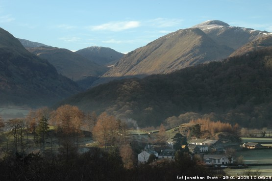 Rosthwaite in Borrowdale on a frosty morning
