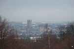 View of Canterbury Cathedral in the snow from the University campus