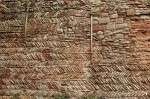 Detail of herringbone work on the curtain wall of Tamworth Castle