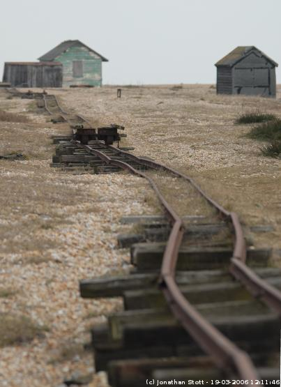 Track between the road and the seafront at Dungeness