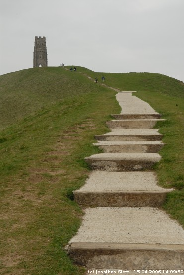 The path up to the top of Glastonbury Tor