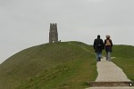 People climbing the path up to the top of Glastonbury Tor