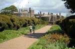 Herbaceous borders and yew hedges at Walmer Castle