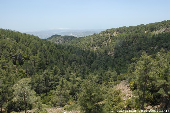 View towards the south from Troodos, Cyprus