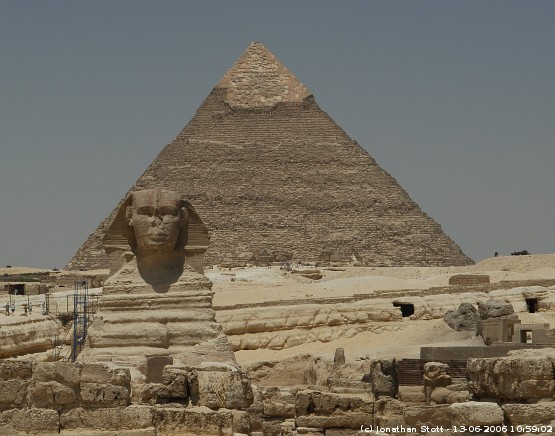 The Sphinx in front of the Pyramid of Khafre, Giza, Egypt