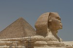 The Great Sphinx in front of the Pyramid of Khafre, Giza, Egypt