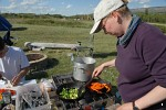 Cooking dinner at St. Mary, Montana