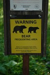 Bear warning sign at Many Glacier trailhead