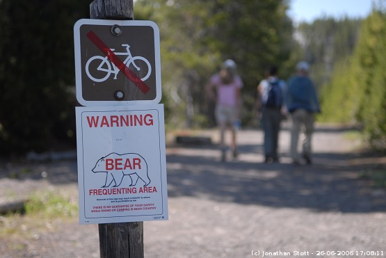 Bear warning sign, Old Faithful Geyser Basin, Yellowstone National Park