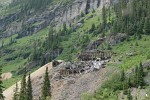 Collapsed mine buildings in Yankee Boy Basin, Colorado