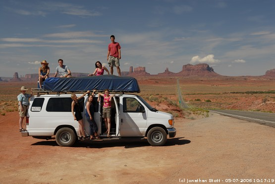 Group photo next to Highway 163 at Monument Valley, Utah