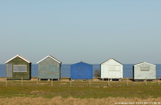 Beach huts at Graveney Marshes