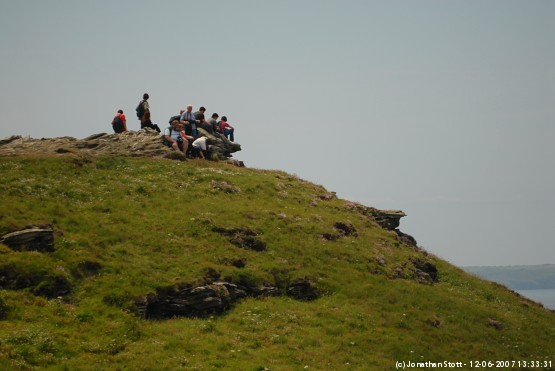 People on the cliff-top at Tintagel Castle, Cornwall